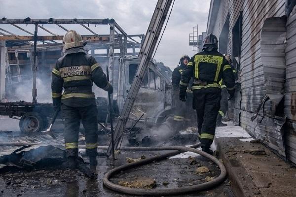 Огнем уничтожено два автомобиля транспортной компании (Архангельск)